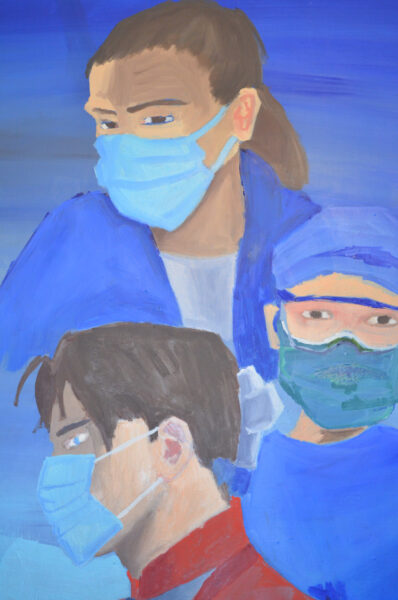 A close up painting of one male nursed dressed as a knight and two female nurses wearing face masks.