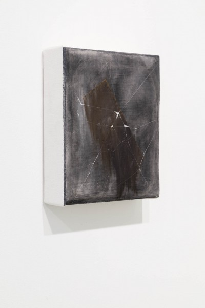 A painting by Cameron Richie. The painting is dark with an faded abstract shape in the ccenter. There are thin white lines across the painting that mimic a cracked window.