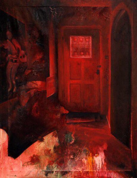 Carlos Flores, Dallas, 2020. Oil paint, acrylic paint, oil paint stick, 48 x 36 inches.