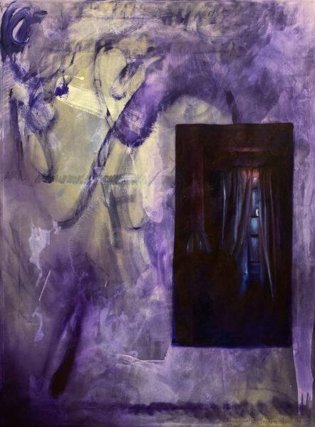 Carlos Flores, Mott, 2020. Oil paint, acrylic paint, 48 x 36 inches.