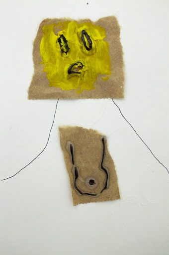 Cheyenne Haskins: One Boobed, 2019. Pen, marker, paper bag, hot glue, and acrylic on paper. (5 x 7 inches).
