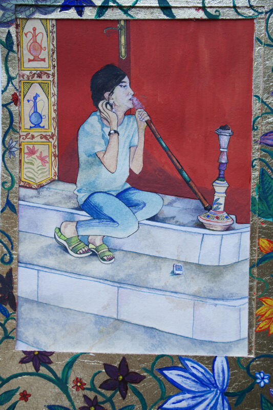Farwah Rizvi, <i>Chillum-Noshi (self-portrait)</i>, 2020. Watercolor, gouache, and gold leaf on paper. 6 x 11.5 inches.