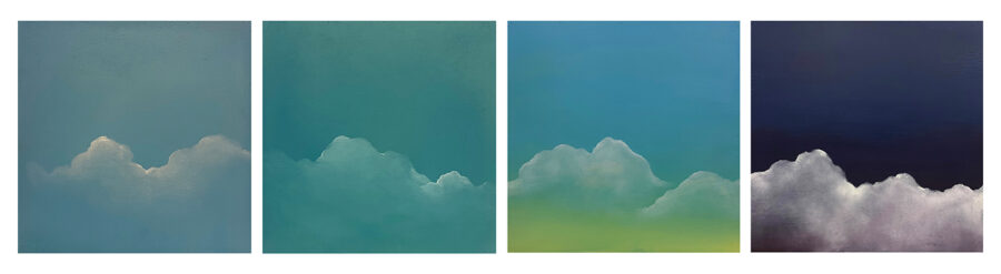 Yeon Cho, Untitled, 2020. Oil on four wood panels. Each panel 14 x 14 inches.