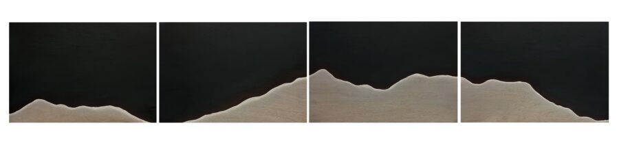 white linear mountain on four wood panels with dark background