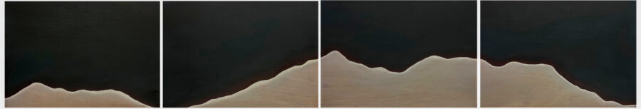 Yeon Cho, The Mountain, 2020. Oil on four wood panels. Each panel 29 x 20 inches.