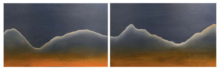 white linear mountain on two wood panels with blue and orange palettes' background