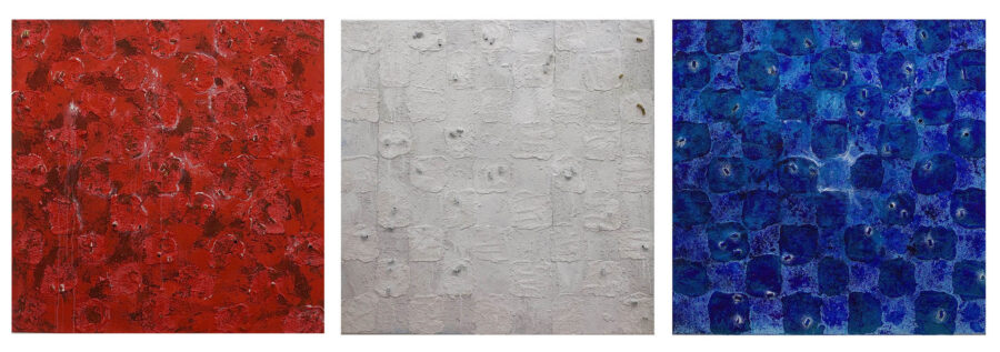 The Mayhem series references the constant mayhem, chaos, and murder that goes on in the inner city/black community. (from left to right) No. 1- Red, No. 2- White, and No. 3- Blue. Each canvas represents the colors of the police sirens in the United States while the bullet casings reference gun violence/police brutality.