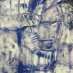 Ryan Cosbert, Indigo, 2020. Enamel on mixed fabric. 30 x 50 inches.