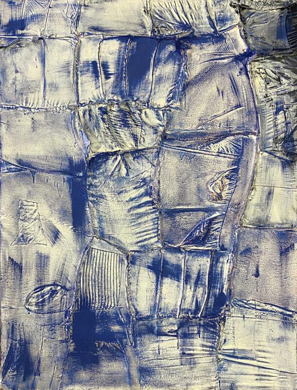 Ryan Cosbert, Indigo, 2020. Enamel on mixed fabric. 30 x 50 inches.