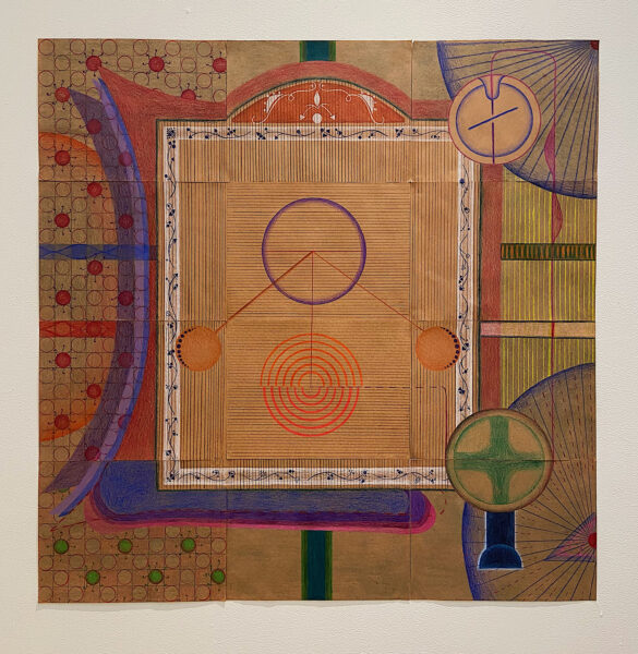 Srishti Dass, Exit, 2021. Colored pencil on paper. 36 x 36 inches. Twelve 9x12-inch brown paper sheets combined to make a square surface with a big circle at the center top. It connects to the same size circle at the bottom with a straight vertical line. The circle at the bottom is made out of orange, concentric semi-circles. There are two smaller circles on either side of the line connecting to the center of the first circle like a pendulum. Around it is a white border with a blue geometric vine pattern inside, making it look like a window. There are brown vertical and horizontal lines in the negative space inside this border. On the left side of the drawing is a repeating pattern consisting of a grid formate with circles in some of them and wavy lines coming out of each making them look like neurons. On the right side are two connecting smaller circles and two sectors from two circles on the top right and bottom right corner with lines inside.