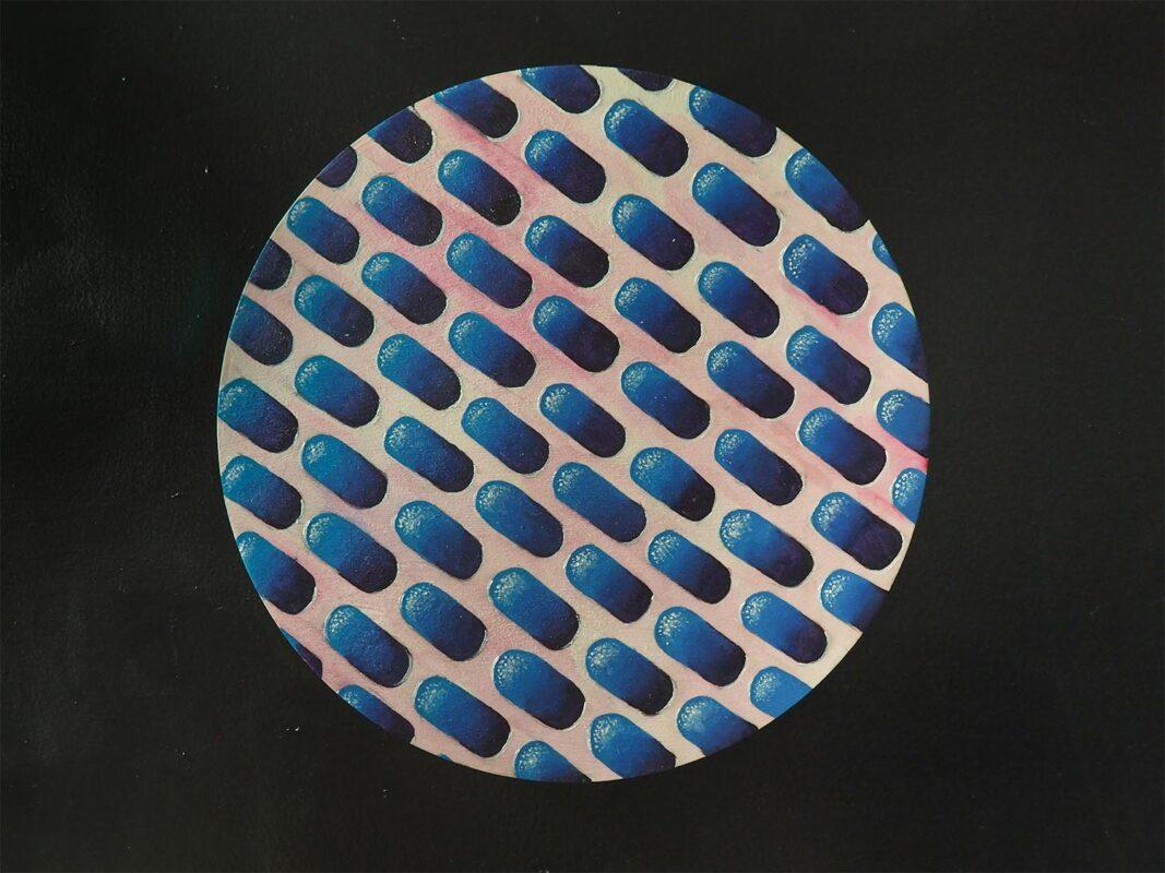 Amanda DeJulia (DJ), Caerula, 2020. Acrylic on wood panel. 12 inch diameter.