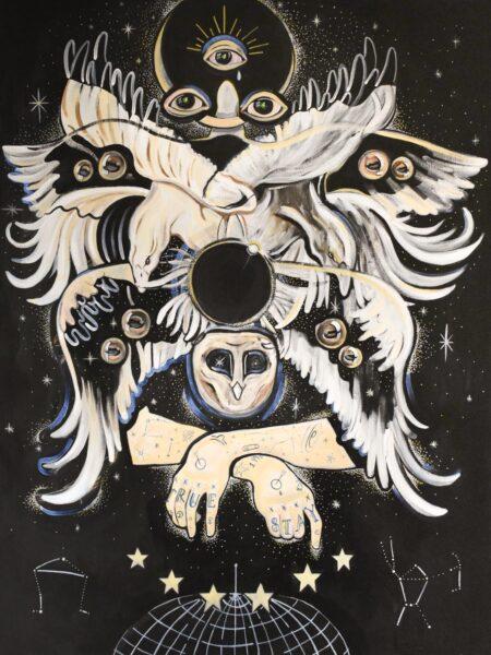 Deanna N. Iancu, Self-Portrait (Study of a Biblical Angel), 2020. Acrylic, gouache, paint marker and gel medium on canvas, 45 x 50 inches.