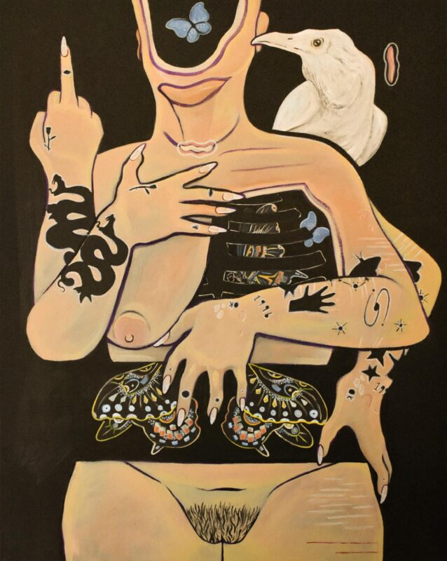 Deanna Iancu: To Those Who Have Done Me Wrong, 2020. Acrylic, gouache, paint marker and gel medium on canvas. (20 x 30 inches)