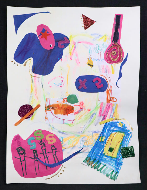 Claire Donigan, Collage 1, 2020. Chalk pastels, crayon, marker, glue and glitter on paper.