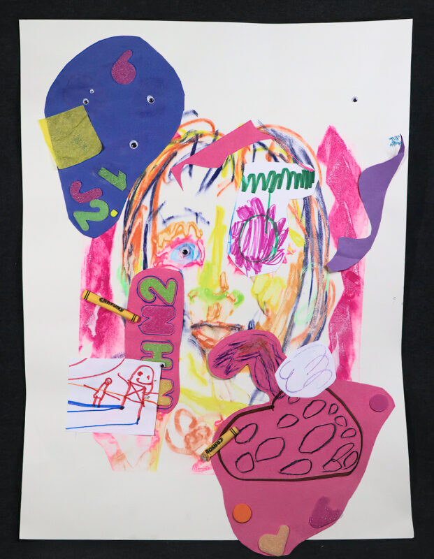 Claire Donigan, Collage 2, 2020. Chalk pastels, crayon, marker, glue and glitter on paper.