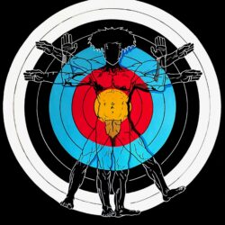 Painting of a man Standing in the center of a colored archery target with the colors light red, light blue, cadmium dark yellow, and a black background. Posing different hand gestures like hands up, hands out, and arms diagonal. Along with a separate gesture along with the legs.