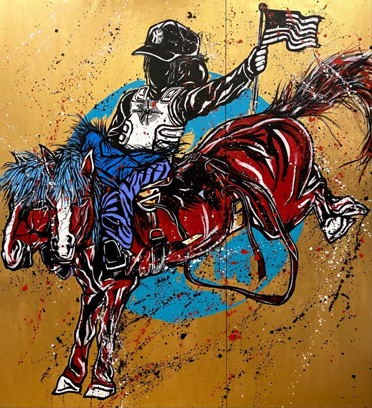 Black silhouette figure riding on top of a two headed red horse. Holding a black and white flag. Gold background with splatter paint flicked on top.