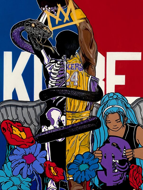 """Re imagined NBA logo silhouette replaced with Kobe Bryant. Kobes' """"Mamba Snake"""" logo wrapped around him with a crown on top his head. Flowers located at the bottom of the painting along with Kobes' daughter, Gianna."""