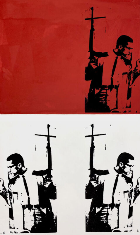 Malcolm X screen printed on a red and white split colored canvas. Printed 3 times in the top right corner, and bottom two corners in black.