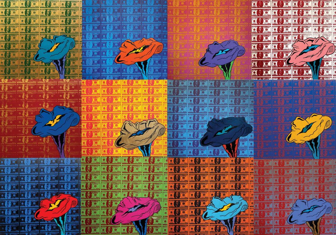 A total of 12 canvases in a collage . Each with different colored backgrounds and different colored 100 dollar bill screen prints on top of the background with a vibrant flower painted on top.