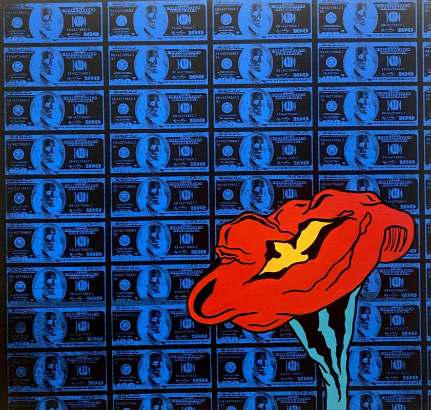 Black colored background with blue screen printed hundred dollar bill printed on top. A red, yellow, and teal flower painted on top of the screen print outlined in black.