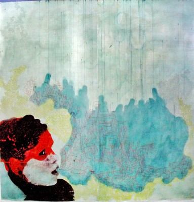 A print by Elizabeth Castaldo. A black and red person exhaling a blue cloud.