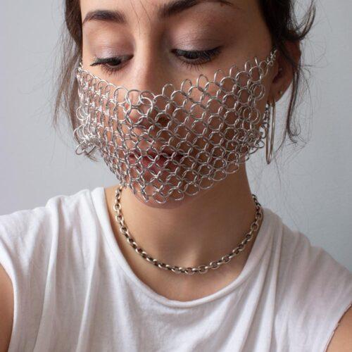 Emma Fasciolo, Chainmail Mask, 2019-20. Aluminum.