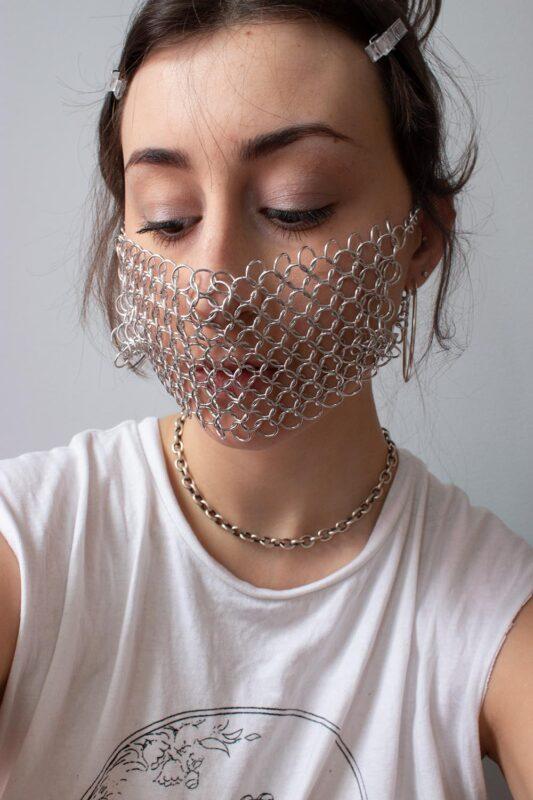 Emma Fasciolo: Chainmail Mask, 2019-20. Aluminum.