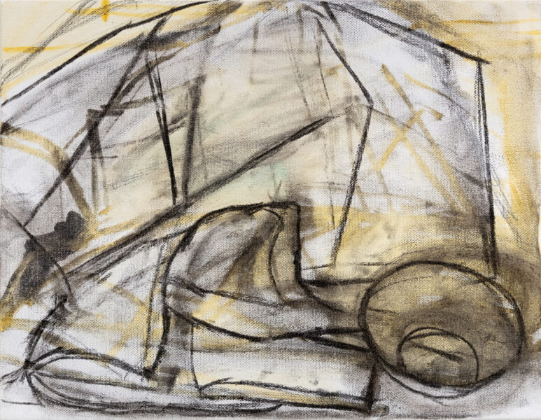 Jungeun Annie Yang, Still Life 1, 2020. Charcoal and oil on canvas, 11 x 14 inches.