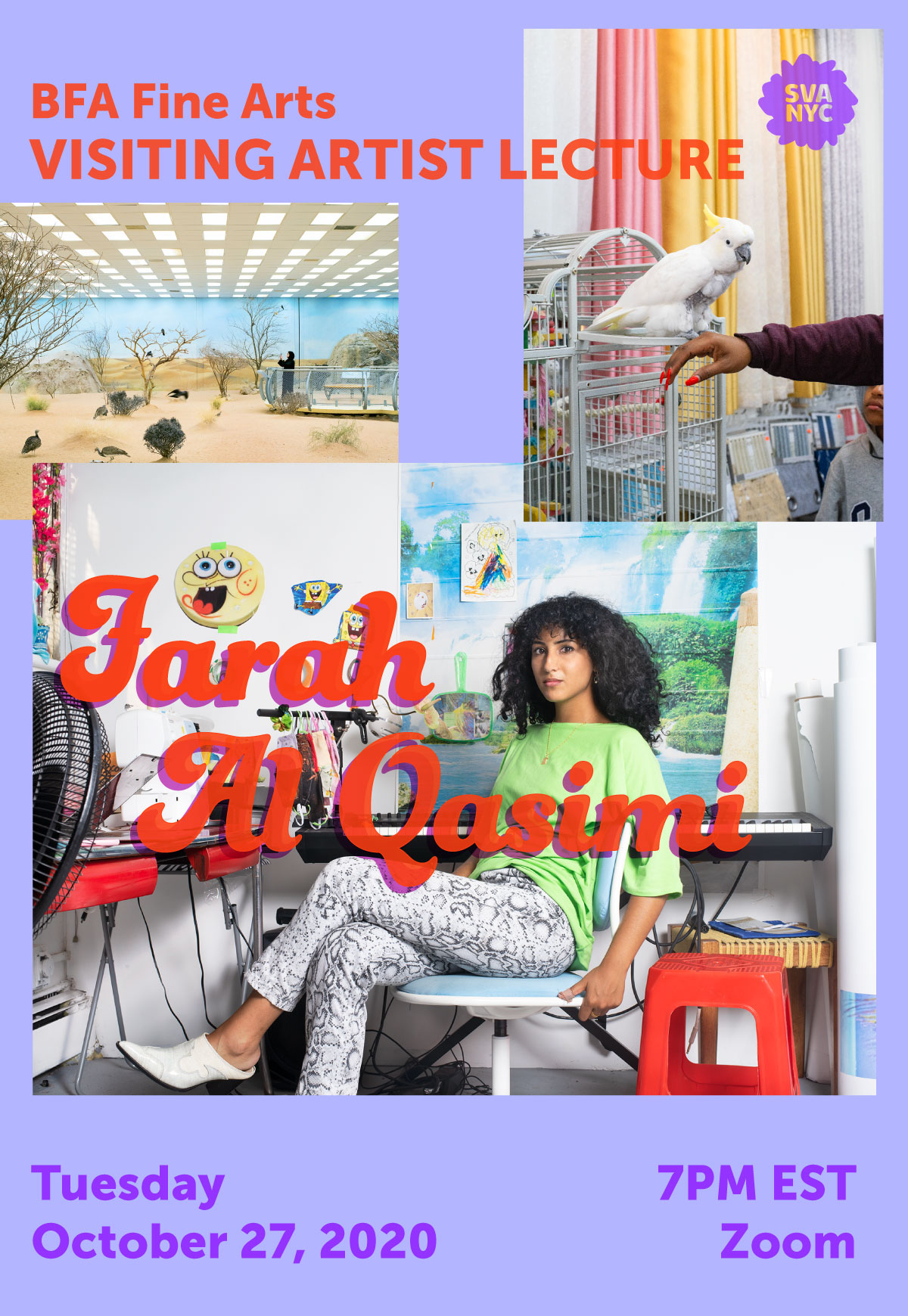 A poster for a visiting artist lecture with Farah Al Qasimi at the School of Visual Arts on Tuesday, November 3, 2020 at 7pm EST. This lecture will be held online on Zoom.