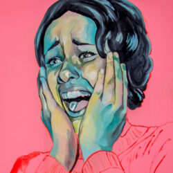 A young woman is painted screaming, with her hands pressed against either side of her face. Her eyes and mouth are open and she is facing toward the viewer's left. Her face is painted in mostly cool tones with some yellow and pink. She has short hair. The background is a flat bubblegum pink.