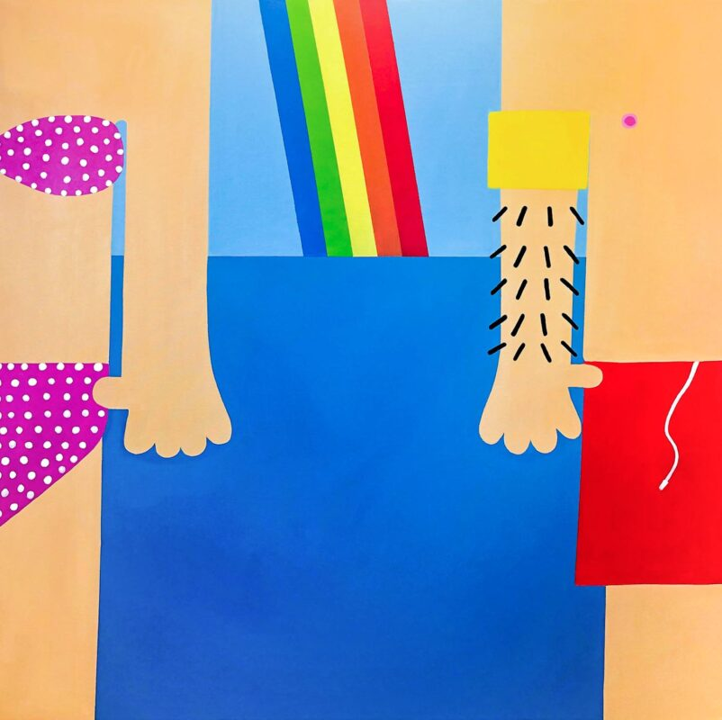 Nadia Fediv, Beach Date, 2020. Oil and acrylic on canvas. 48 x 48 inches.