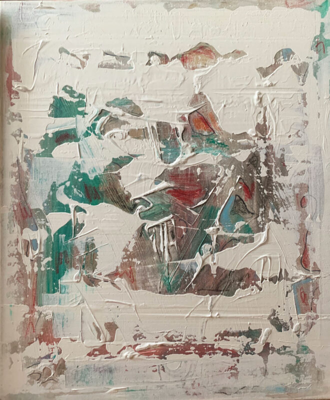 Feixuan Huang: Untitled, 2020. Acrylic and crayon on canvas. (18 x 24 inches).