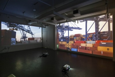 """Frederick Paxton: """"Europe's Edges Ice core Sampling"""". 2012. Digital cinema, projection, Multi coated perspex screens. Dimensions variable."""