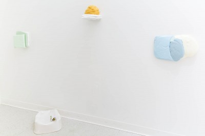 Gabriella Price: Installation view. 2014. Silicone, urethane foam, plaster, acrylic paint. 11x3x17""