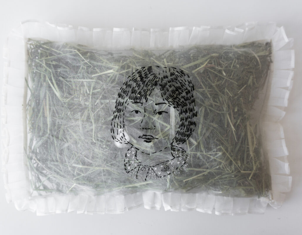 Lanyi Gao, Embroidered Pillow, 2020. Embroidery on organza, straw, baroque pearl. 10 x 14 x 1.5 inches.