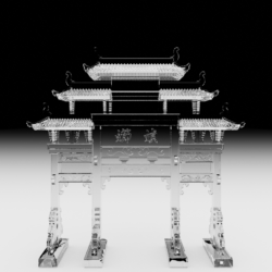 A rendering of a transparent archway shaped sculpture