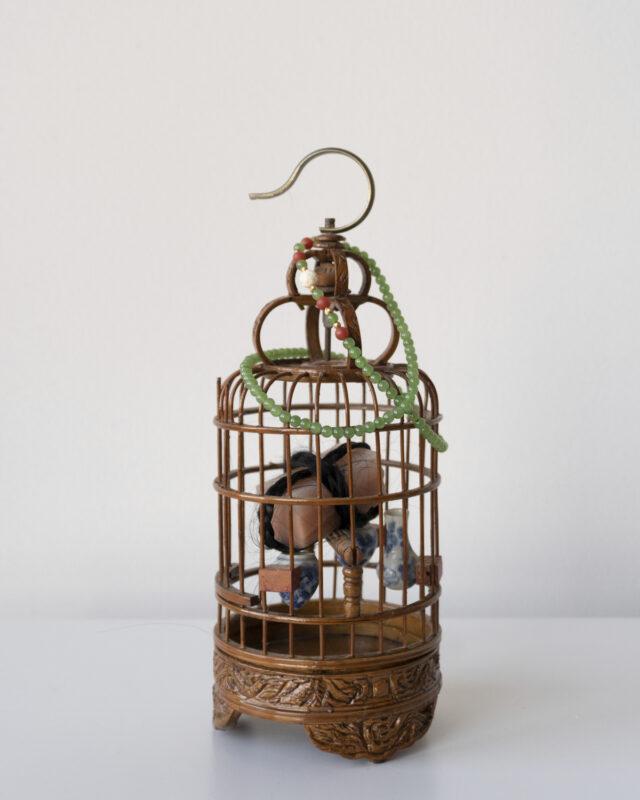 Lanyi Gao, Woman I, 2020. Bamboo, metal, silicone, human hair. 10 x 4 x 4 inches.