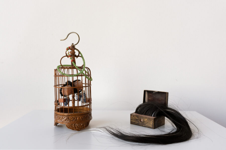 A piece of fake meat cube tied by a black braid in an antique Asian birdcage. Nearby is a metal antique box carved with Oriental motifs that contain an artificial scalp.