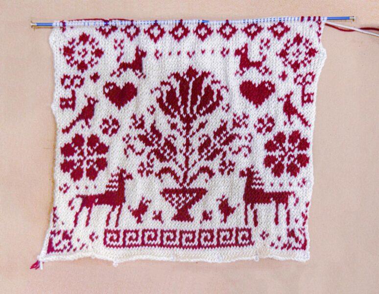 Breanna Gartner, <i>Untitled</i>, 2020. Knitting, yarn, 12 x 12 inches.
