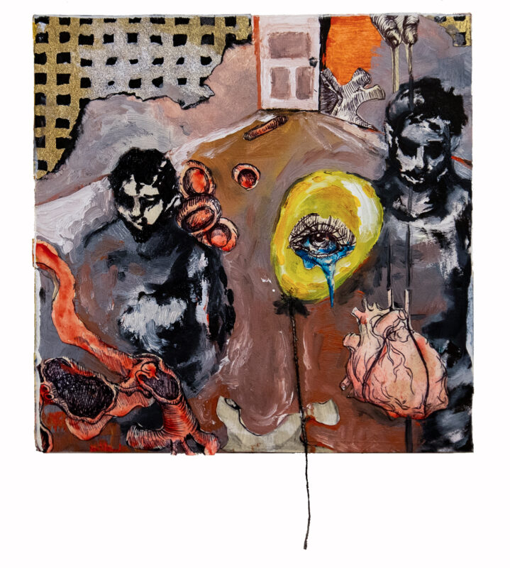Bree Gore, Two Figures, One Heart, 2020. Mixed media on wood. 6 x 6 inches.