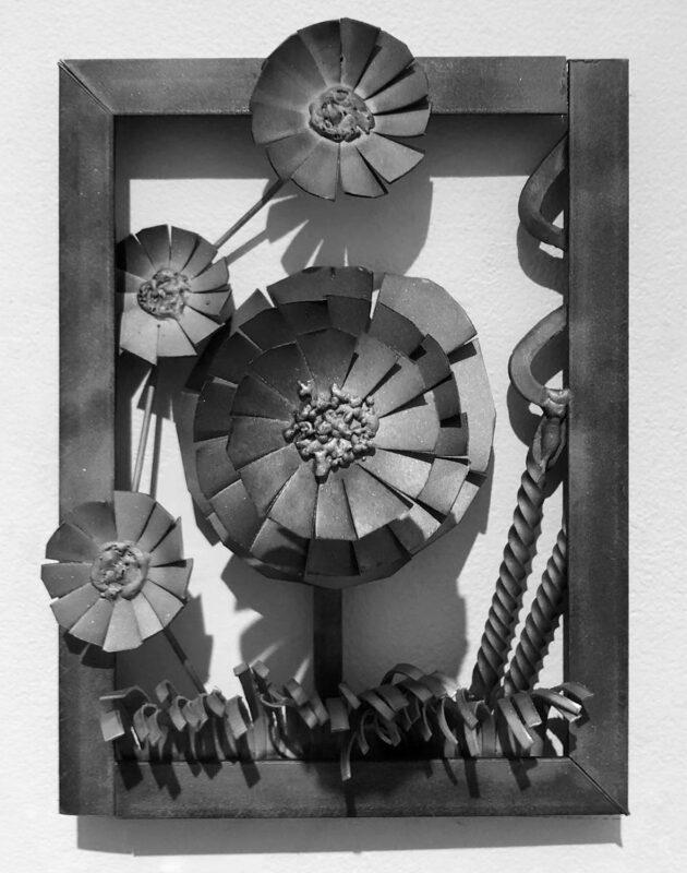 Hansel Hartman, Framed Flowers, 2020. Steel.