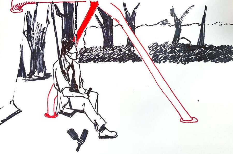 Hanyu Yuan, Untitled, 2020. Marker pen on paper, 9 x 11 inches.