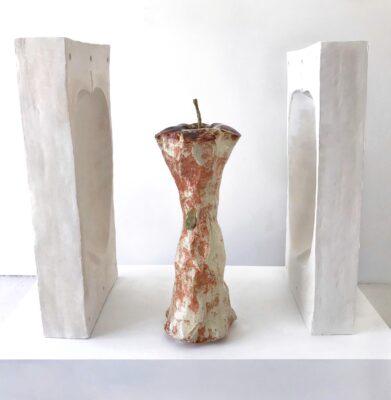 Hanzhi Ye, Who Ate the Apple ,2020, Porcelain, Glaze, 45x45x45 inches.