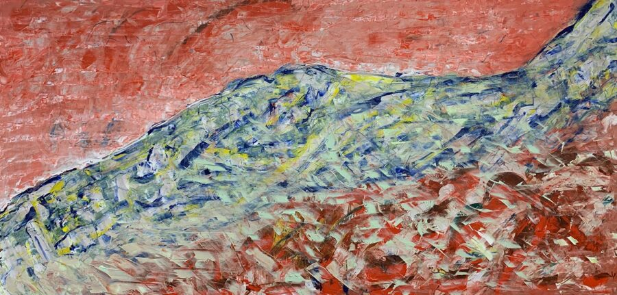 Hao Wu, River Mountain, 2020. Oil on wood, 50 x 24 inches.