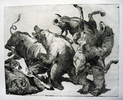 Two bulls fending off three bears in an epic fight.