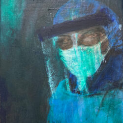 A healthcare worker in an ominous atmosphere with a glass shield to protect his/her head.
