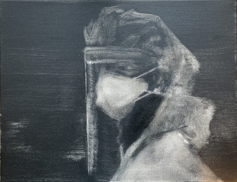 A monochromatic painting of a healthcare worker in a dark atmosphere with a glass shield to protect his/her head.