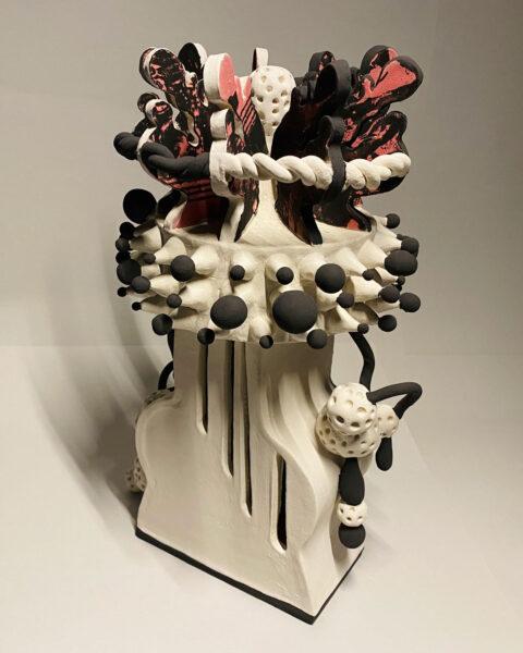 Xin Gan, Untitled, 2020. Clay, glaze, silkscreen on clay, 14 x 4 x 8 inches.