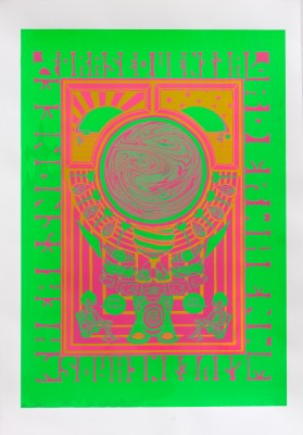 A psychedelic poster printed in neon green and red.